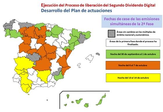 Áreas geográficas establecidas en el Plan Técnico Nacional de la Televisión Digital Terrestre.