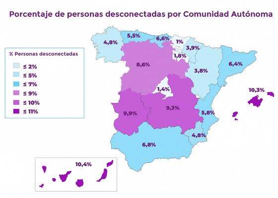 Mapa por Comunidades Autónomas de cobertura de banda ancha.