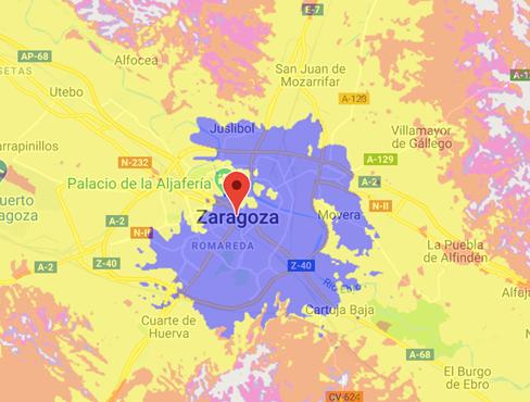 Cobertura 5G de Orange en Zaragoza.