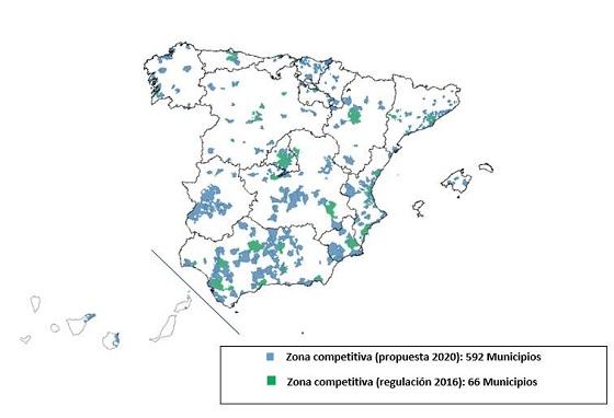 Mapa zonas competitivas (592 municipios)- Propuesta CNMC 2020.