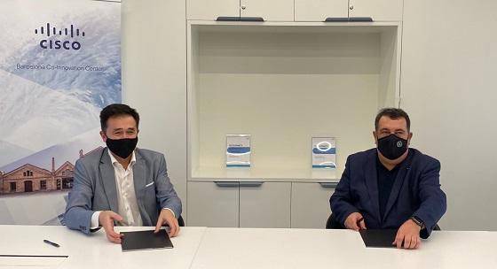 Ernesto Gasco, Alto Comisionado para la Lucha contra la Pobreza Infantil, y Andreu Vilamitjana, director general de Cisco España.