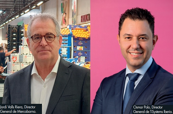 Jordi Valls Riera, director general de Mercabarna y Osmar Polo, director general de T-Systems Iberia.
