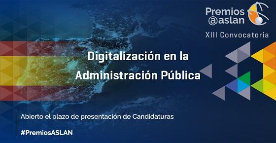 Abierta la XIII Convocatoria de Premios Digitalización en las Administraciones Públicas.