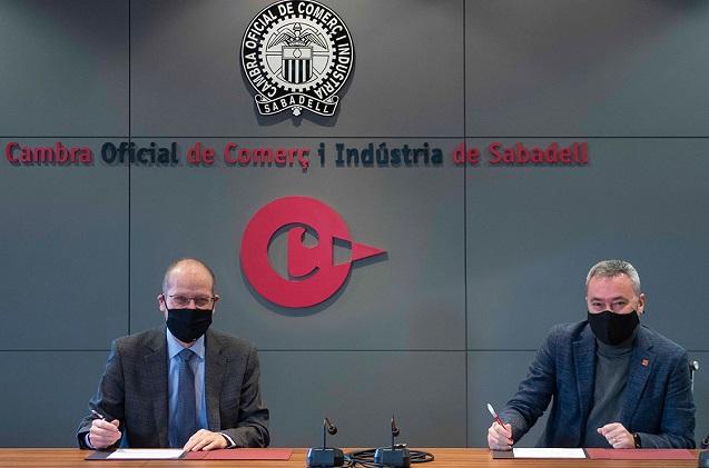 Ramon Alberich, presidente de la Cambra de Comerç de Sabadell (Izquierda) y Juan Antonio Fernández, CEO de Ekon,