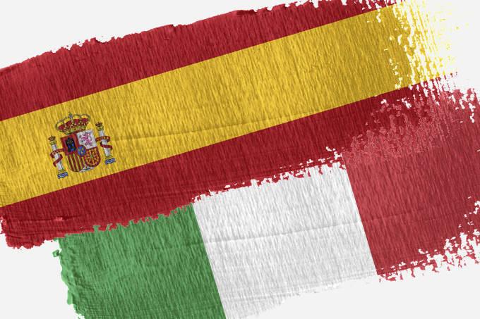 banderas España e Italia