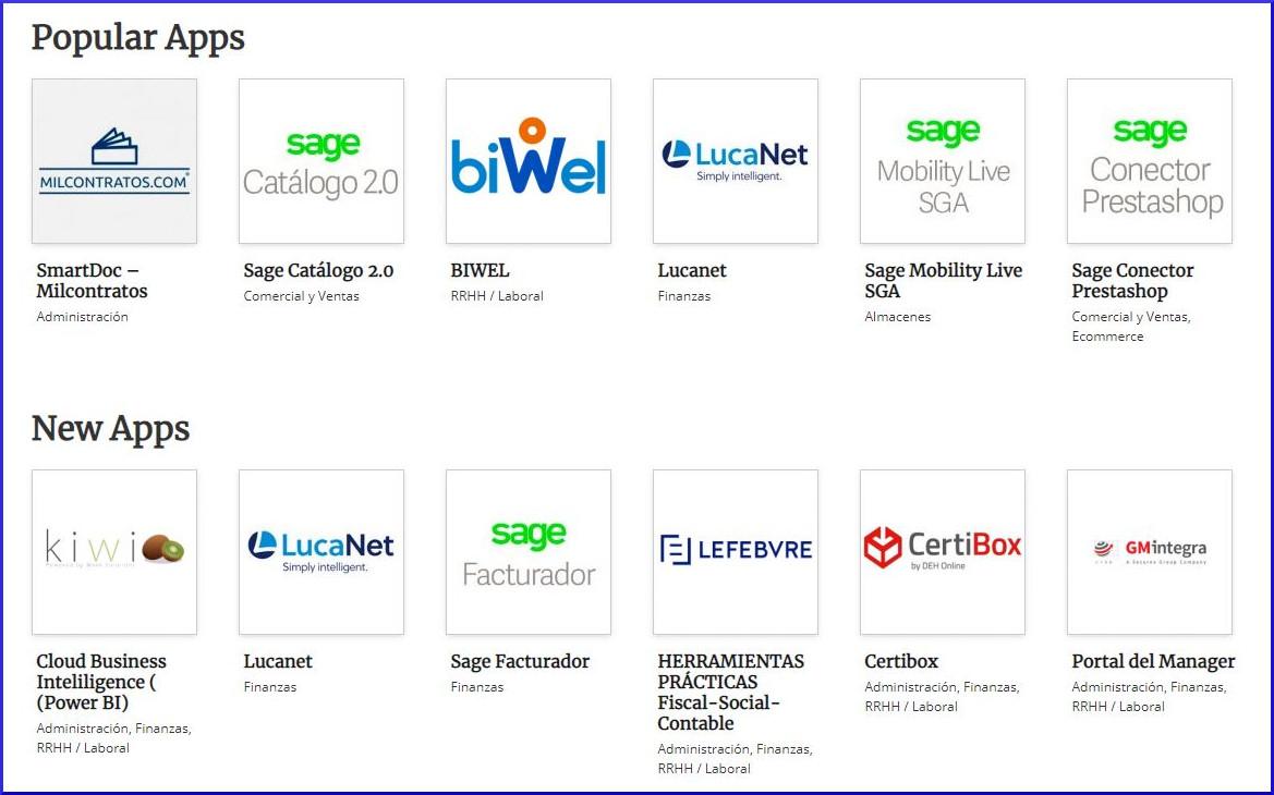 Apps del marketplace de Sage.