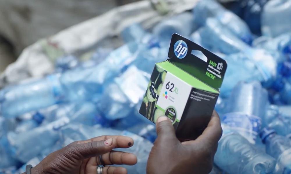 Los cartuchos de HP están hechos con plásticos reciclados de botellas.