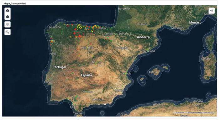 Mapa de conectividad en España.