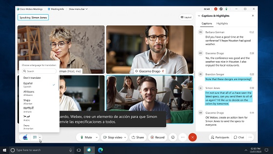 Cisco Webex permite las traducciones en tiempo real.
