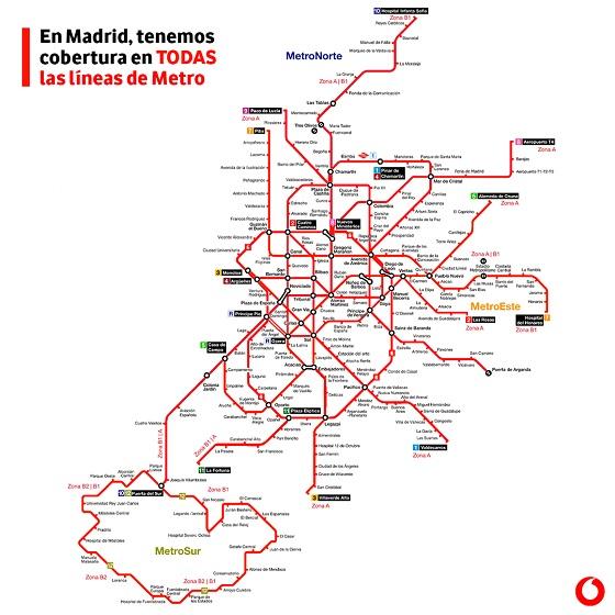 Vodafone cubre de 4G todas las líneas de Metro de Madrid.